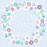 Merry Christmas Card, turquoise, lilac and purple Royalty Free Stock Photos