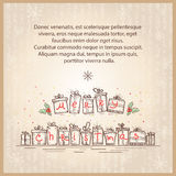 Merry Christmas card.Vector drawing sketch illustr Stock Photography