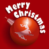 Merry Christmas card. Vector illustration of Christmass card with red decoration ball with a deer Stock Photos