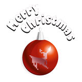 Merry Christmas card. Vector illustration of Christmass card with red decoration ball with a deer Stock Images