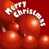 Merry Christmas card. Vector illustration of Christmass card with red decoration ballsl on red background Royalty Free Stock Image