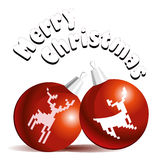 Merry Christmas card. Vector illustration of Christmass card with two red decoration balls with a deers Stock Image