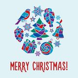 Merry Christmas card. Merry Christmas vector card with set of festive attributes stock illustration