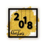 Merry Christmas card. Merry Christmas vector text calligraphic lettering design card template. Rectangle frame with 2018 numbers on twinkly golden paint brush Royalty Free Stock Photos