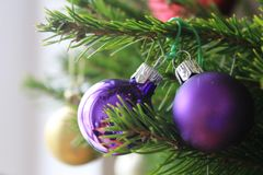 Merry christmas card with violet ornaments. Merry christmas card with violet ornament on the xmas tree Stock Images
