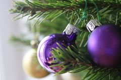 Merry christmas card with red ornaments. Merry christmas card with violet ornaments on the xmas tree Stock Photography