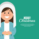 Merry christmas card with virgin mary smiling. Vector illustration eps 10 Vector Illustration