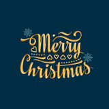 Merry Christmas card. Warm wishes for happy holidays. Merry Christmas card. Holiday colorful decor. Lettering composition with phrase Stock Image