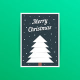 Merry christmas card with white xmas tree Royalty Free Stock Photography
