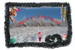 Merry Christmas! Card with winter landscape and with Christmas-tree glass toys. royalty free stock photography