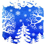 Merry Christmas card, Winter landscape Royalty Free Stock Photography