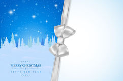 Merry Christmas card with winter night landscape and silver bow Stock Image