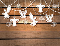 Merry Christmas Card With Angels And Toys Royalty Free Stock Photo