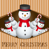 Merry Christmas Card With Snow Man Royalty Free Stock Images