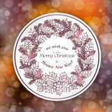 Merry Christmas card with wreath Stock Image
