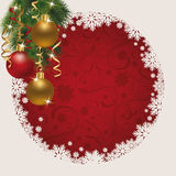 Merry Christmas card with xmas balls Stock Images