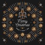 Merry Christmas card, Xmas religious poster, Snowflakes, Trendy bursting rays Stock Photos