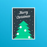 Merry christmas card with xmas tree and balls Royalty Free Stock Photography
