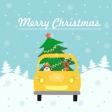 Merry Christmas card. The yellow car gives a Christmas tree to decorate the house. Colorful vector illustration for the winter hol Stock Photos