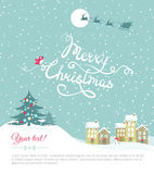 Merry christmas card. With your text space - Vector Illustration Royalty Free Stock Photos