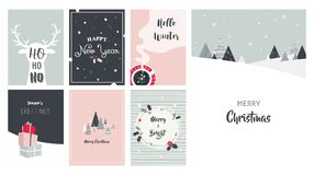 Merry Christmas cards, illustrations and icons, lettering design collection Royalty Free Stock Photography
