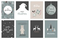 Merry Christmas cards, illustrations and icons, lettering design collection- no 5. Merry Christmas cards, illustrations and icons, lettering design collection Royalty Free Stock Photo