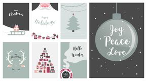 Merry Christmas cards, illustrations and icons, lettering design collection - no 7. Merry Christmas cards, illustrations and icons, lettering design collection Stock Images