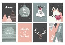 Merry Christmas cards, illustrations and icons, lettering design collection- no 2. Merry Christmas cards, illustrations and icons, lettering design collection Royalty Free Illustration