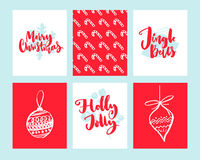 Merry Christmas cards. Set of winter holidays design templates. Doodle illustration of christmas decorations, candy cane Royalty Free Stock Photography