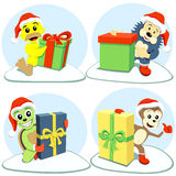 Merry christmas cartoon animals Royalty Free Stock Photography