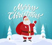 Merry Christmas - cartoon characters illustration with Santa Claus. Merry Christmas - cartoon characters illustration with smiling happy Santa Claus with a bag Royalty Free Stock Photos