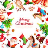 Merry Christmas Cartoon Frame. With greeting, xmas tree, santa, animals, holiday decorations on white background vector illustration royalty free illustration