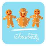 Merry christmas. Cartoon gingerbread cookies isolated on blue background. Set of Christmas tags. Christmas characters Stock Images