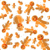 Merry christmas-28. Cartoon gingerbread cookies isolated on white background. Christmas characters. Seamless pattern. Background for textile or banners Stock Images