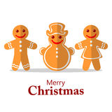 Merry christmas-26. Cartoon gingerbread cookies isolated on white background. Set of Christmas tags. Christmas characters Stock Photos