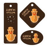 Merry christmas-31. Cartoon gingerbread cookies vector set isolated on white background. Set of  Christmas tags. Christmas characters Royalty Free Stock Images