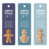 Merry christmas. Cartoon gingerbread cookies vector set isolated on white background. Set of Christmas tags. Christmas characters Royalty Free Stock Photo