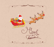 Merry christmas Cartoon Santa Claus flying.  Royalty Free Stock Photography
