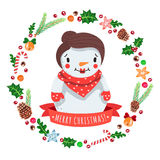 Merry Christmas cartoon snow woman in with Christmas wreath vector card Stock Images