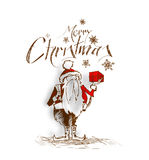 2400Merry Christmas! Cartoon Style Hand Sketchy drawing of a fun. Merry Christmas! Cartoon Style Hand Sketchy drawing of a funny Santa Claus holding gift pack Stock Photography