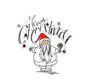 Merry Christmas! Cartoon Style Hand Sketchy drawing of a funny S Royalty Free Stock Photography