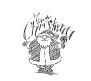 Merry Christmas! Cartoon Style Hand Sketchy drawing of a funny S Stock Photography