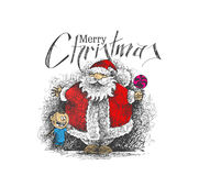 Merry Christmas! Cartoon Style Hand Sketchy drawing  Stock Images