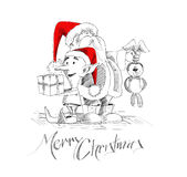 Merry Christmas! Cartoon Style Hand Sketchy drawing  Stock Photo