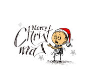Merry Christmas! Cartoon Style Hand Sketchy drawing Royalty Free Stock Photo