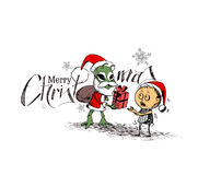 Merry Christmas! Cartoon Style Hand Sketchy drawing  Royalty Free Stock Photography
