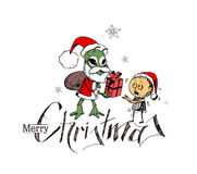 Merry Christmas! Cartoon Style Hand Sketchy drawing  Royalty Free Stock Images