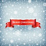 Merry Christmas celebration background with falling snow and red banner ribbon vector illustration. Xmas ribbon banner with snowflake stock illustration