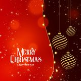 Merry christmas celebration background with hanging golden ball Royalty Free Stock Image