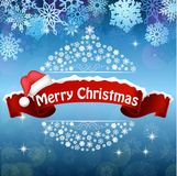 Merry Christmas celebration background with red realistic ribbon banner hat Royalty Free Stock Images